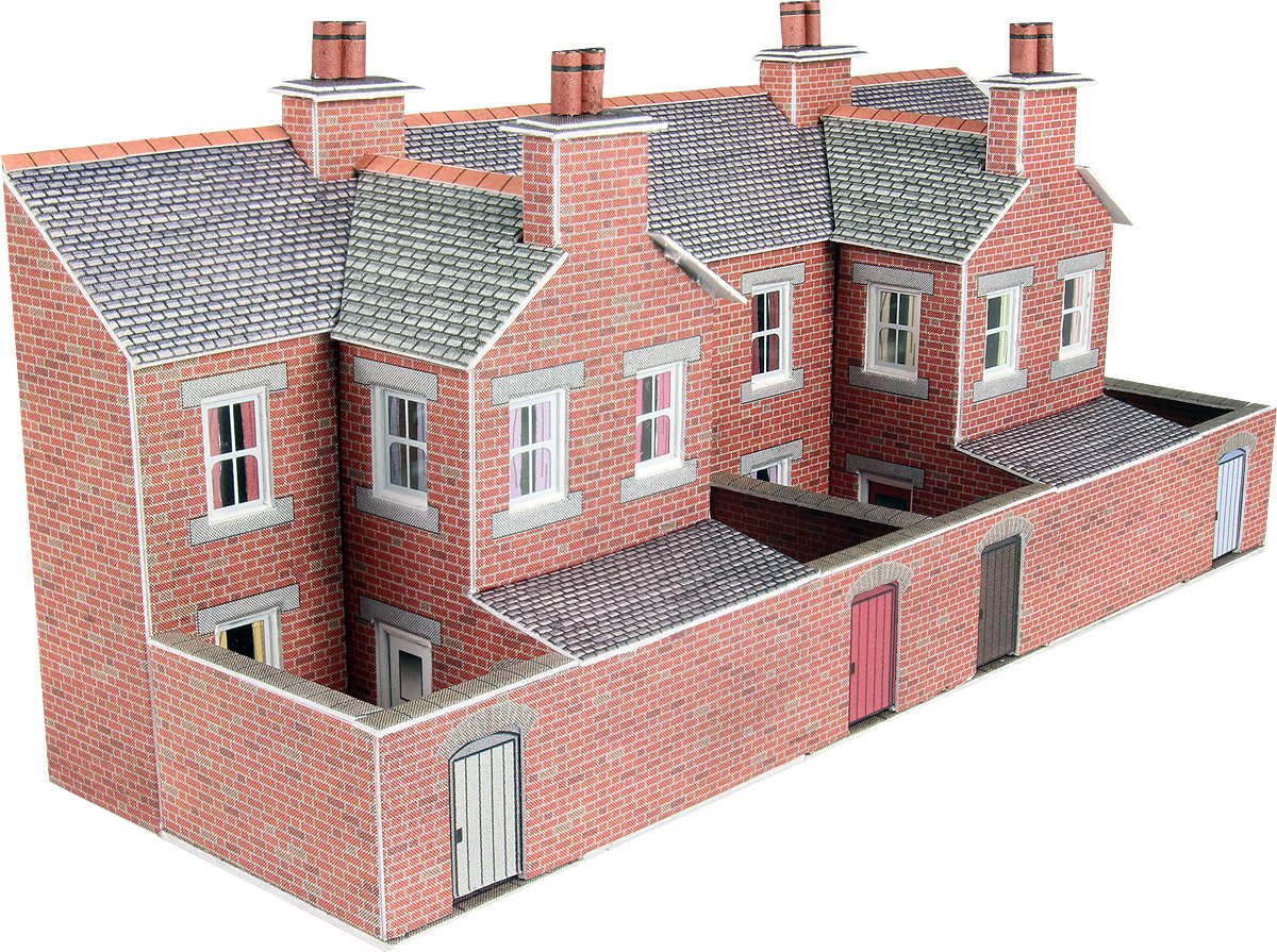 Metcalfe PN176 Low Relief Terraced House Backs Red Brick Railway Model N