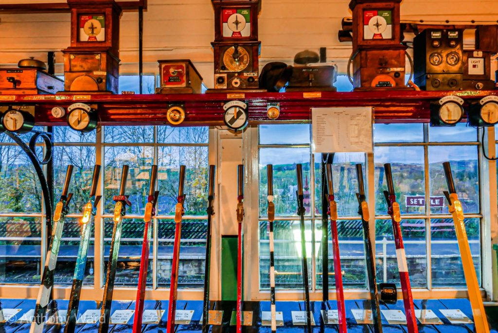 Inside the traditional signal box at Settle